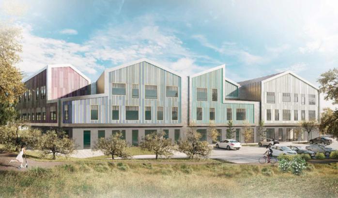 Möjlig utformning av Torslandaskolan F-6 östra fasad. Aktuellt planförslag styr dock endast byggnadens placering, storlek och höjd, övrig utformning avgörs i bygglovskedet. illustration: Göteborgs Stad Stadsbyggnadskontoret