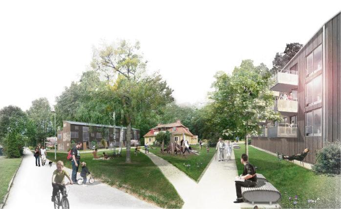 En lokal park kan anläggas kring den gamla prästgården, som också kan komma att omgärdas av bostadslängor.