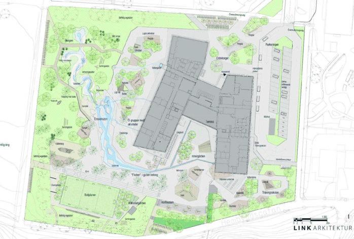 Ovan ett utkast från pågående arbete med planering av skolgården (koncept 191119, LINK ARKITEKTUR)