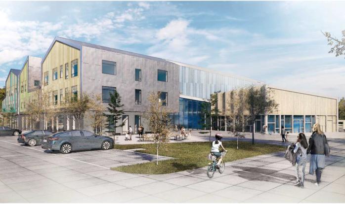 Skissen visar hur den nya Torslandaskolan F-6 kan komma att se ut när den står färdig lagom till höstterminen 2022. illustration: Göteborgs stad