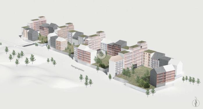 Variationsskiss för tänkt bebyggelse mellan Hangarvägen och Kongahällavägen i Torslanda. Illustration: Dreem Arkitekter/Sverigehuset