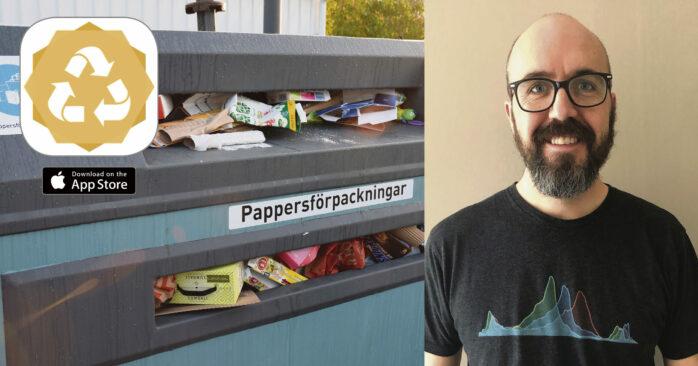 Tobias Berg från Torslanda störde sig på överfulla återvinningsstationer och utvecklade en app för att man lättare ska kunna planera sina besök.