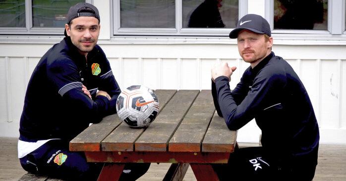 Tränarna Zlatan Krizanovic och Dan Keat kom till Torslanda IK 2019. Nu vill de utveckla ungdomsfotbollen i Torslanda.