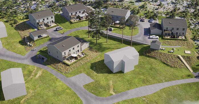 3D-illustration över Obos bostadsprojekt BRF Batteriet i Hjuvik. Illustration: Obos/3d Nord